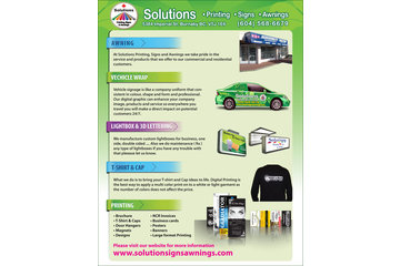 solutions printing, signs and awnings in Burnaby: offers design, printing, signs, awnings, vehicle wraps and window tinting