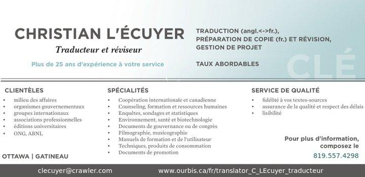 Christian LEcuyer Traducteur Et Reviseur
