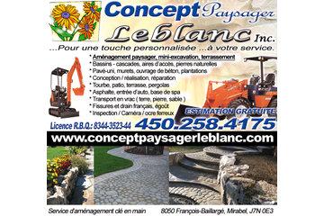 Concept Paysager Leblanc Inc à St-Eustache: Aménagement Paysager Et Excavation, pavé-uni, muret, tourbe, patio, béton