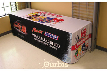 Signs Plus Inc. in Burlington: Custom printed table cover with full colour dye sublimation logos for trade shows and table displays