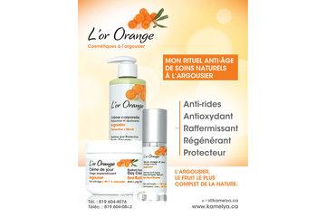 KAMELYA AROMACOSMÉTIQUE  à Victoriaville: L'or Orange, cosmétiques Québécois à l'argousier