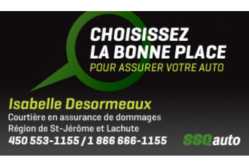 Isabelle Desormeaux Courtière en assurance de dommages affiliée à SSQauto