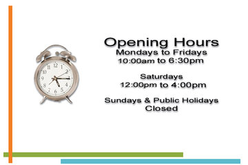 Techno Office Furnishings Ltd in Richmond: Operating Hours