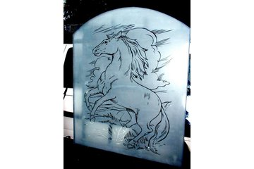 Angel Etchings in Langley: Home entrance window