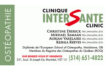 Dierick Christine BSc.(Hons)Osteopathy, D.O. in Montréal: Clinique Intersanté