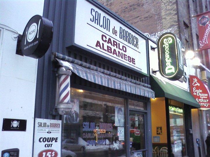 Salon de barbier carlo albanese c d s montr al qc ourbis - Salon coiffure rue st laurent ...