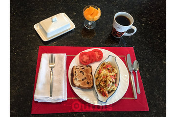Adela's Bed and Breakfast in West Kelowna: Jessie's famous omelette for your enjoyment.