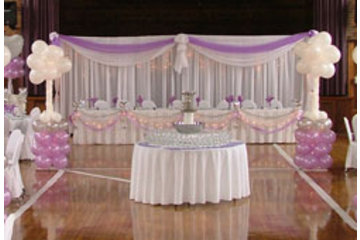 Tim's Party Centre in Bowmanville: Head table with organza backdrop