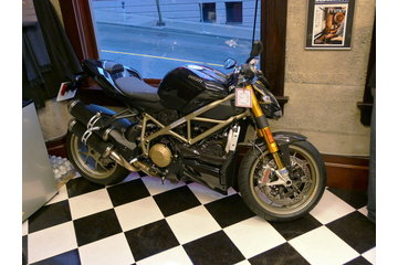 Farzad's Barber Shop in Vancouver: Ducati on display