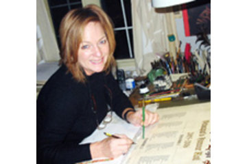 Calligraphie Le Scribouillard Inc in Saint-Bruno-de-Montarville: La calligraphe au travail