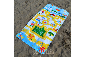 Snappy Towels Inc in TORONTO: Play mat towel for kids. The beach towel is the toy!