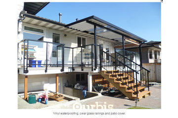 EconoWise Sunrooms & Patio Covers in Surrey: vinyl waterproofing; clear glass railings and patio coveer