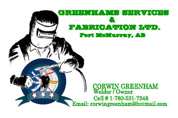 Greenhams Services & Fabrication in Fort McMurray: business card