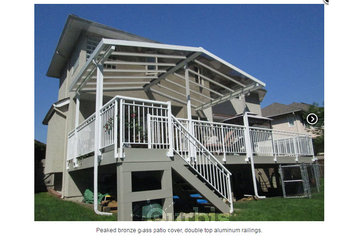 EconoWise Sunrooms & Patio Covers in Surrey: Peaked bronze glass patio cover; double top aluminum railings