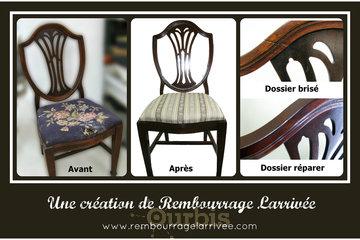 Rembourrage Larrivée Ltée in Saint-Eustache: chaise antique remise à neuf