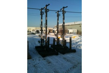 Greenhams Services & Fabrication in Fort McMurray: platforms with light poles mounted