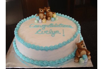 """""""Say It With Cake!"""" in Guelph: Baby Shower Cake with Fondant Teddy Bears and Blocks"""