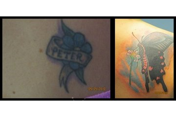 Sin on Skin Tattoo Studio in Halifax: Old name tattoo covered by Butterfly - Kyle
