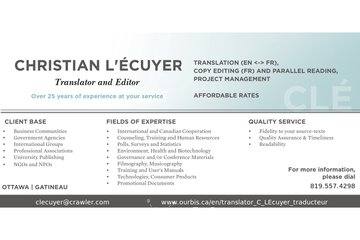 Christian L'Écuyer, traducteur et réviseur | Translator and Concordance Editor